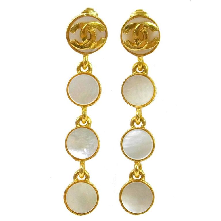 Gold Mother of Pearl Dangles
