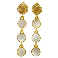 Chanel Vintage Mother of Pearl Gold Coin Dangle Drop Evening Earrings in Box