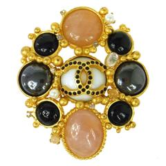 Chanel Gold Pink Black Poured Glass Gripoix Pearl Crystal Pin Brooch