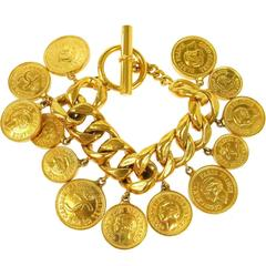 Chanel Vintage Gold Coin Charm Toggle Evening Bracelet