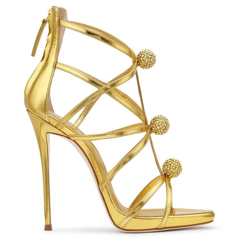 Giuseppe Zanotti New Gold Leather Crystal Pom Pom Evening Sandals Heels in Box 4