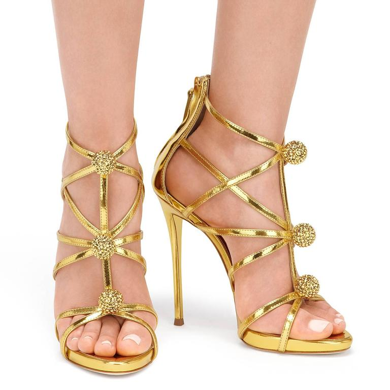 Giuseppe Zanotti New Gold Leather Crystal Pom Pom Evening Sandals Heels in Box 2