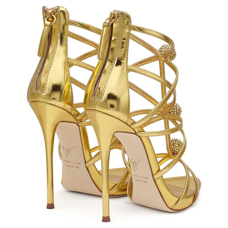 Giuseppe Zanotti New Gold Leather Crystal Pom Pom Evening Sandals Heels in Box 5