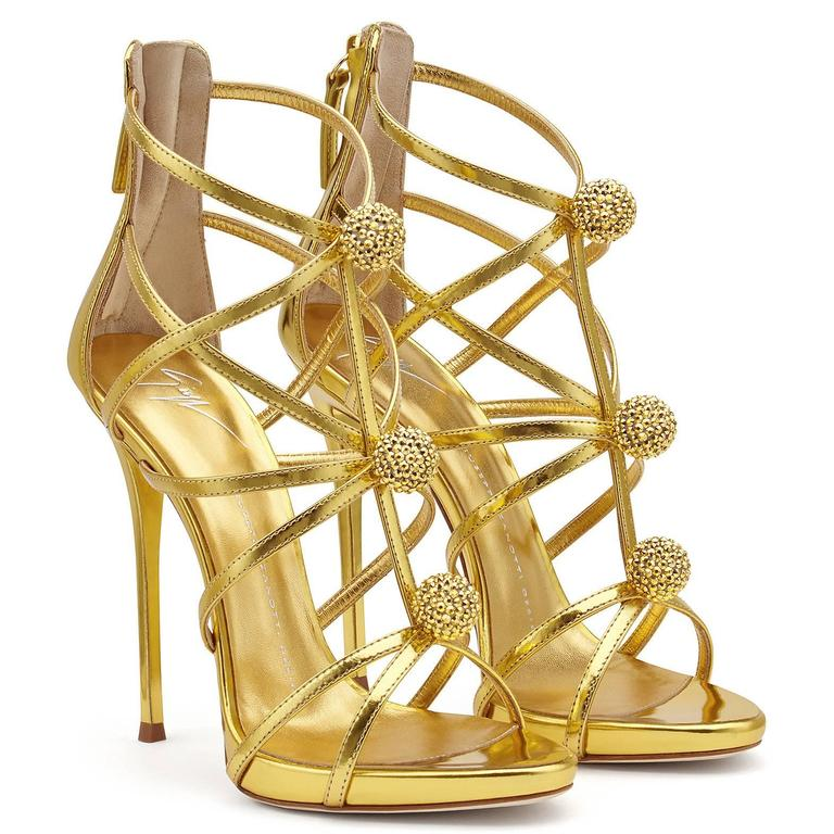 Giuseppe Zanotti New Gold Leather Crystal Pom Pom Evening Sandals Heels in Box 3