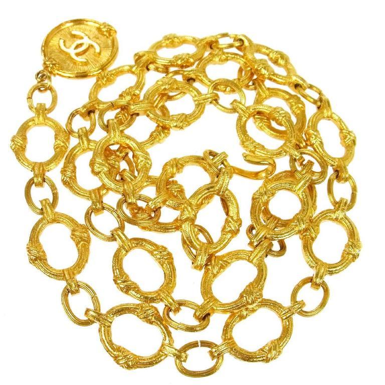 Chanel Vintage Gold Textured Charm Waist Belt  For Sale