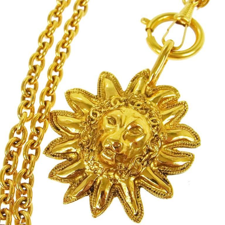 Vintage Wire Chain Jewelry Making Brass Chain Custom: Chanel Vintage Gold Lion Head Medallion Chain Charm