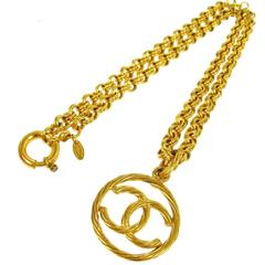 Chanel Vintage Gold Charm Coin Chain Link Necklace