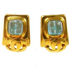Chanel Vintage Gold Charm Blue Poured Glass Stud Dangle Evening Earrings in Box