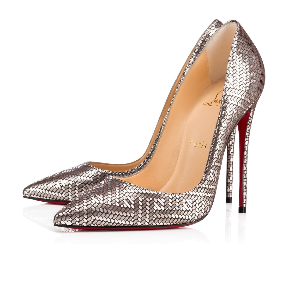 fc83f047d5c3 Christian Louboutin New Leather Silver Geometric So Kate Heels Pumps in Box  at 1stdibs