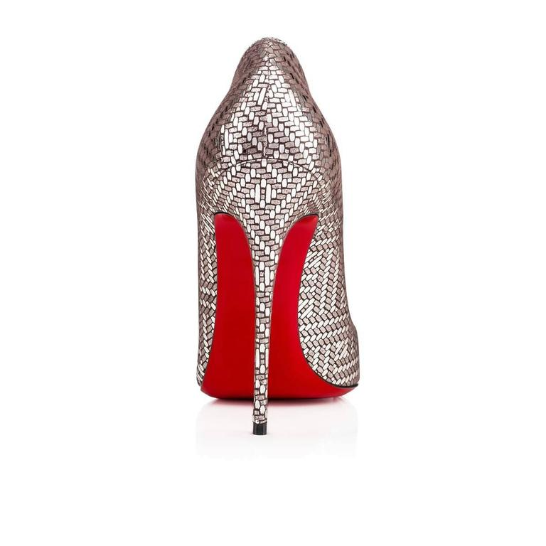 Christian Louboutin New Leather Silver Geometric So Kate Heels Pumps in Box 4