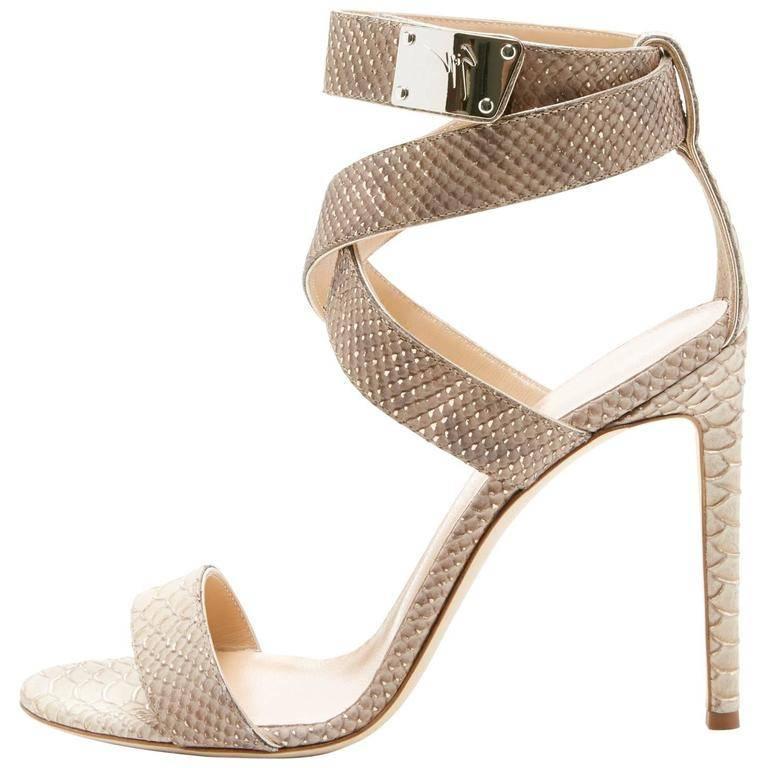 55c1d090e2e1 Giuseppe Zanotti New Nude Snakeskin Print Ankle Strap Sandals Heels in Box  For Sale