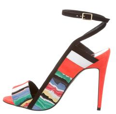 Pierre Hardy New Multi Patchwork Suede Sandals Heels in Box