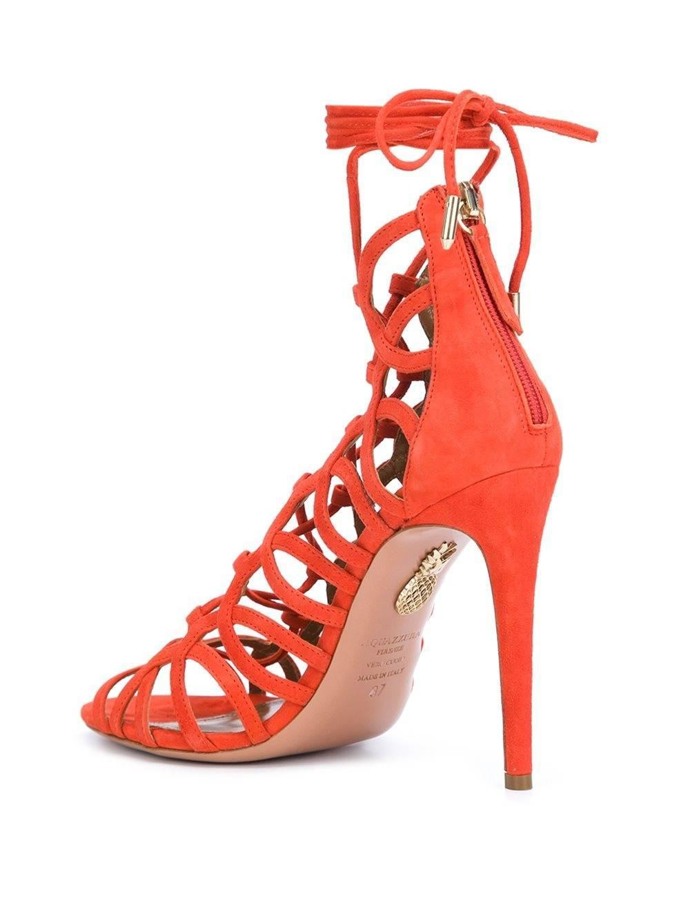 163ababcfbb9 Aquazzura New Orange Suede Cut Out Lace Up Gladiator Heels Sandals in Box  at 1stdibs