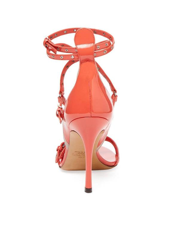 Women's Valentino New Coral Patent Leather Strappy Cut Out Sandals Heels in Box For Sale