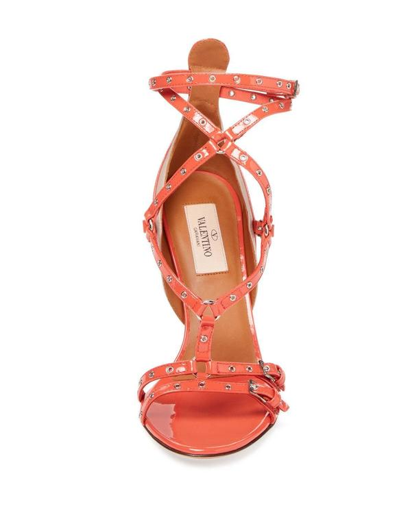 Orange Valentino New Coral Patent Leather Strappy Cut Out Sandals Heels in Box For Sale