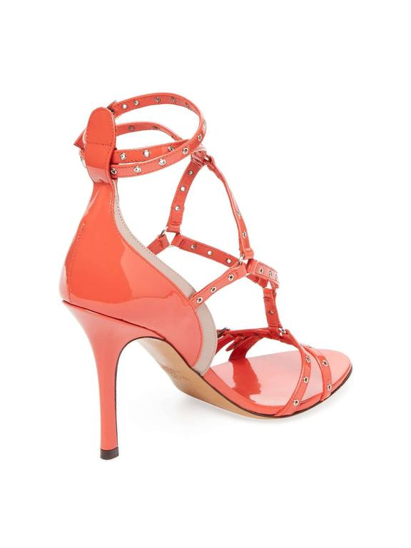 Valentino New Coral Patent Leather Strappy Cut Out Sandals Heels in Box In New never worn Condition For Sale In Chicago, IL