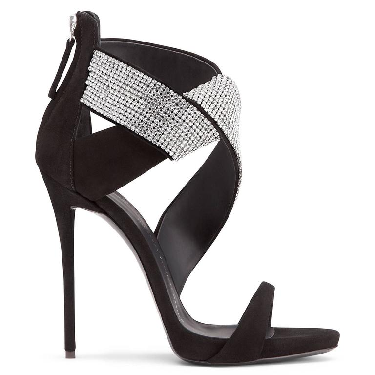 Giuseppe Zanotti Black Suede Crystal Wrap Around Sandals Evening Heels in Box In New Never_worn Condition For Sale In Chicago, IL