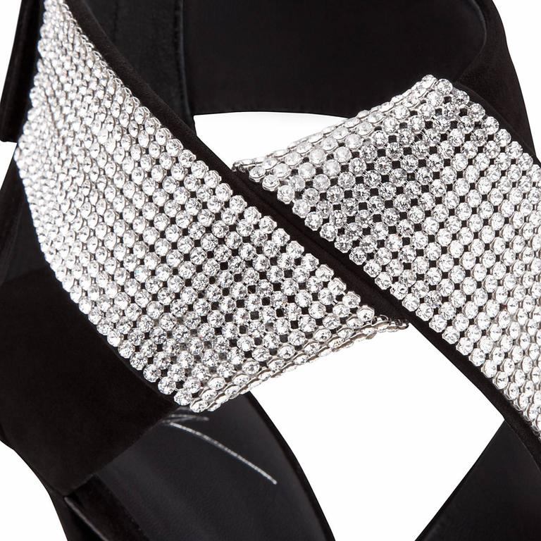 "Giuseppe Zanotti Black Suede Crystal Wrap Around Sandals Evening Heels in Box available at Newfound Luxury  Size IT 36 and IT 41 available Suede Crystal Zipper back closure Made in Italy Heel height 4.75"" Includes original Giuseppe Zanotti box"
