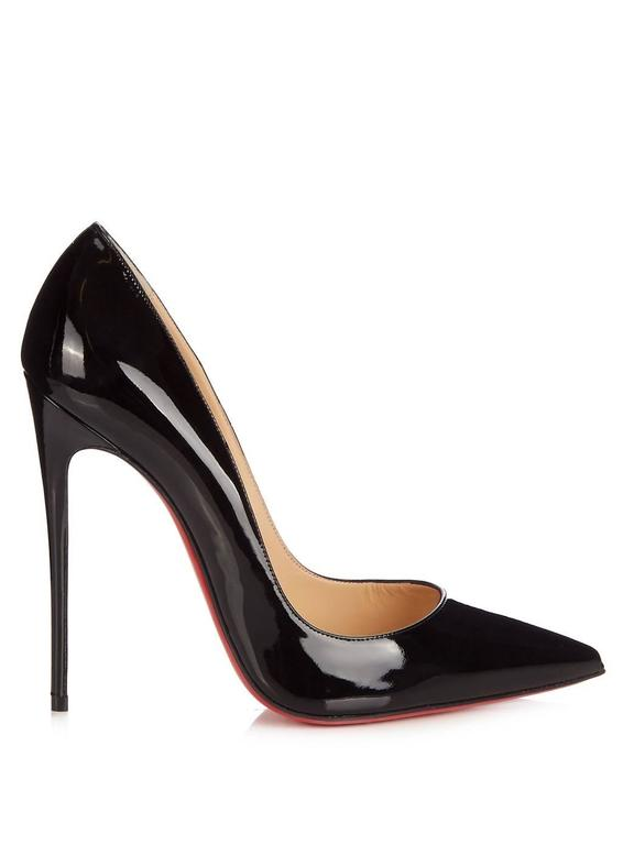 Women's Christian Louboutin New Black Patent Leather So Kate High Heels Pumps in Box For Sale