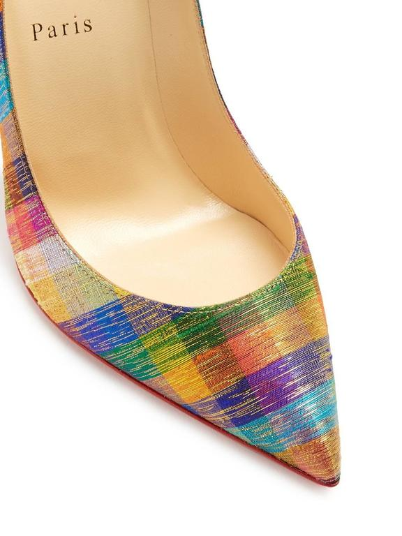 Christian Louboutin New Rainbow Stripe Canvas Pigalle High Heels Pumps in Box  In New Condition In Chicago, IL