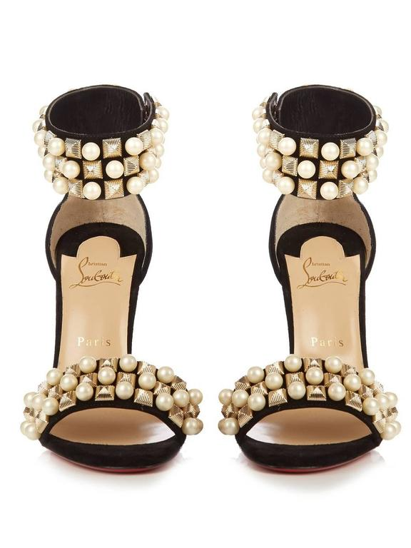 9ee0e1151403 Women s Christian Louboutin New Black Suede Gold Pearl Sandals Evening Heels  in Box For Sale