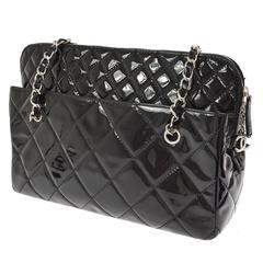 Chanel Black Patent Leather Silver Charm Evening Carryall Shoulder Bag