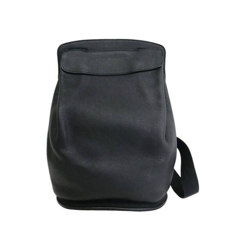 Hermes Vintage Black Leather Men's Women's Travel Carryall Shoulder Backpack For Sale