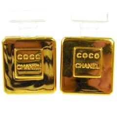 Chanel Rare Vintage Gold Chanel No 5 Bottle Stud Evening Earrings