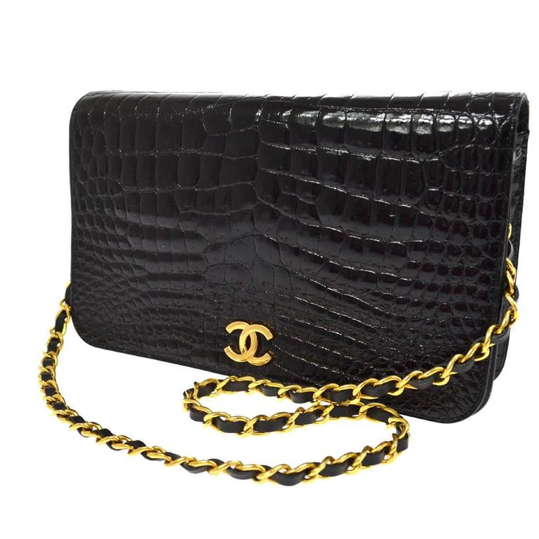 Chanel Rare Vintage Crocodile WOC 2 in1 Clutch Evening Shoulder Flap Bag