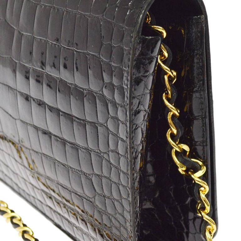 862329877f8b Black Chanel Rare Vintage Crocodile WOC 2 in1 Clutch Evening Shoulder Flap  Bag For Sale