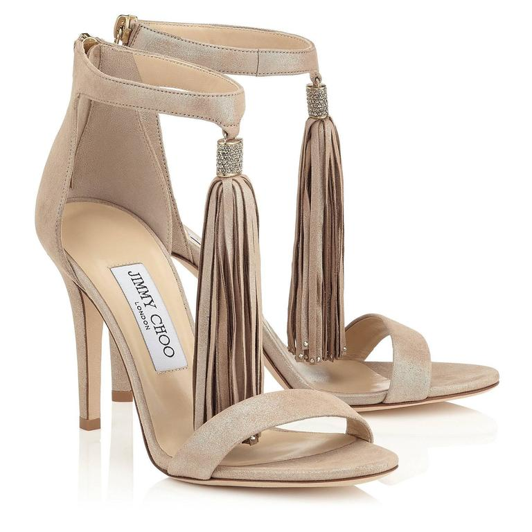 Jimmy Choo New Sold Out Leather Gold Crystal Evening Tassel Sandals Heels in Box In New never worn Condition For Sale In Chicago, IL