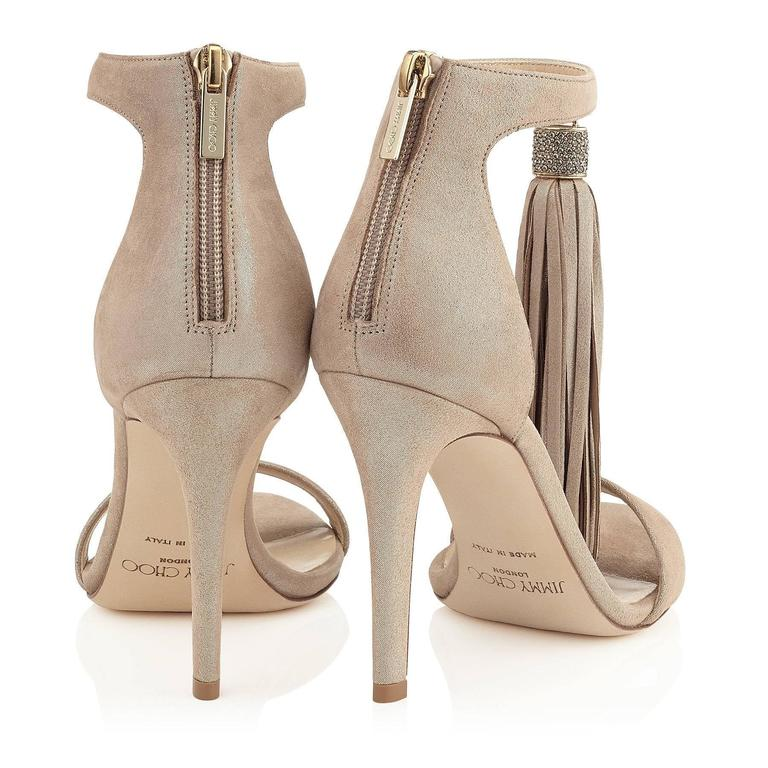 Jimmy Choo New Sold Out Leather Gold Crystal Evening Tassel Sandals Heels in Box For Sale 1