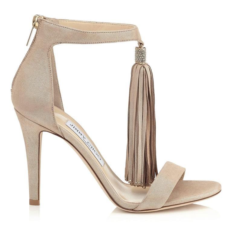 Women's Jimmy Choo New Sold Out Leather Gold Crystal Evening Tassel Sandals Heels in Box For Sale