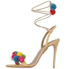Aquazzura New & Sold Out Nude Multi Color Pom Pom Sandals Heels in Box