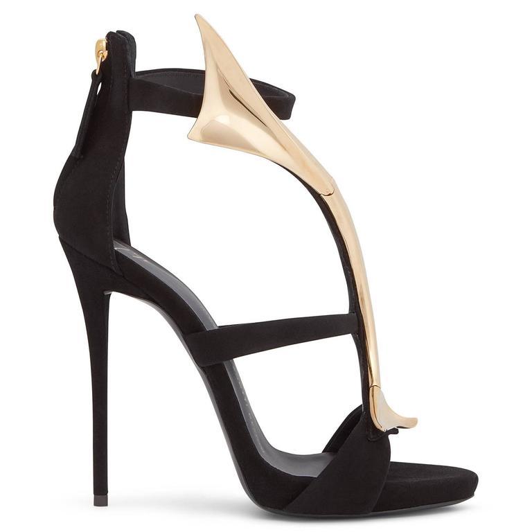 Women's Giuseppe Zanotti New Black Suede Gold Wave Evening Sandals Heels  For Sale