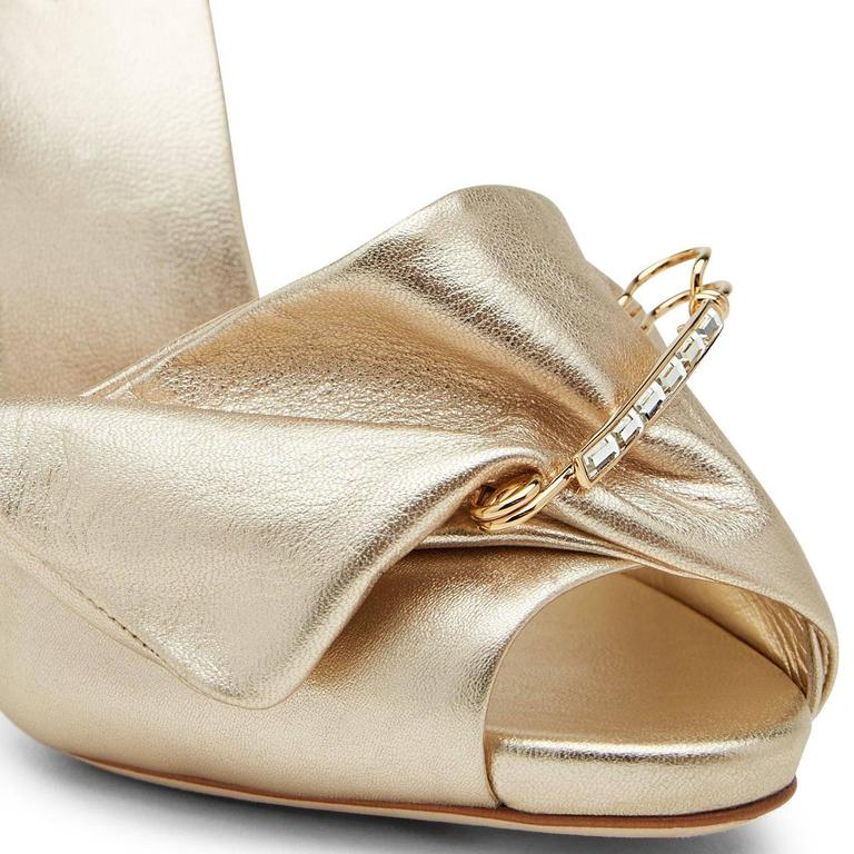 Giuseppe Zanotti New Gold Leather Bow Crystal Brooch Evening Sandals Heels Box  Size IT 40 Leather Crystal Gold metal hardware Made in Italy Heel height 4.75