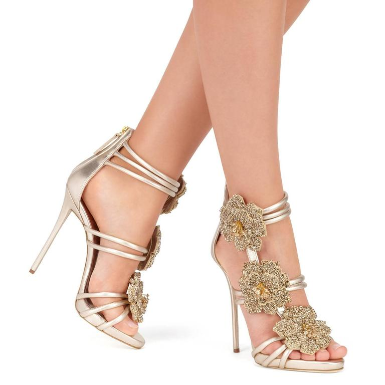 Giuseppe Zanotti New Gold Leather Crystal Rose Evening Sandals Heels in Box 2