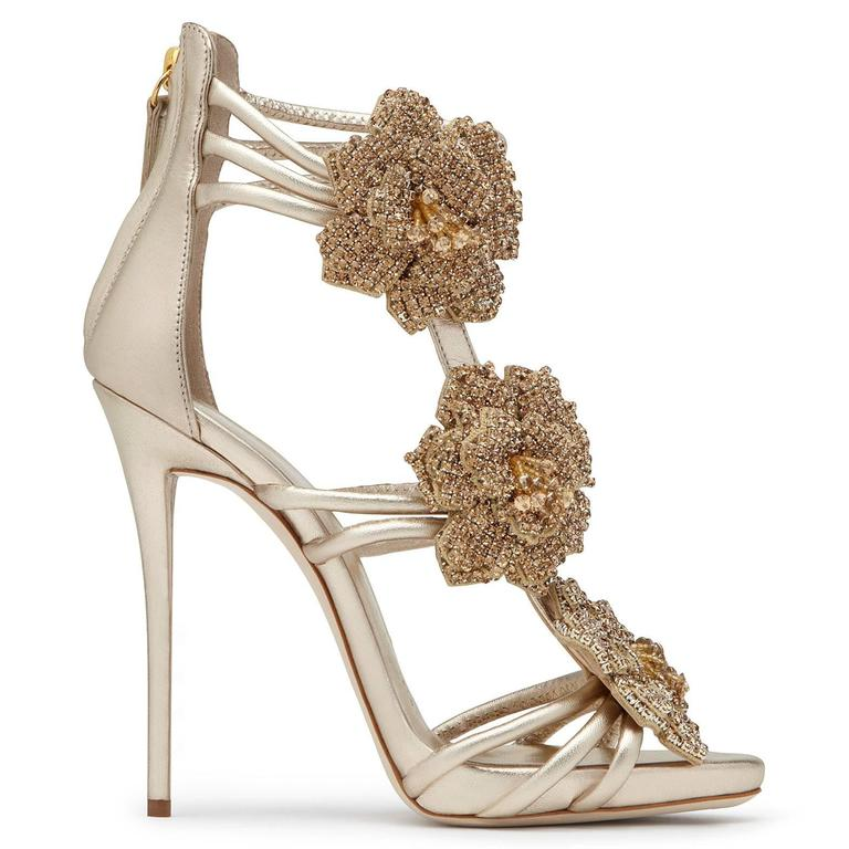 Giuseppe Zanotti New Gold Leather Crystal Rose Evening Sandals Heels in Box 4