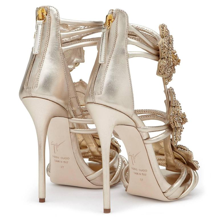 Giuseppe Zanotti New Gold Leather Crystal Rose Evening Sandals Heels in Box 5
