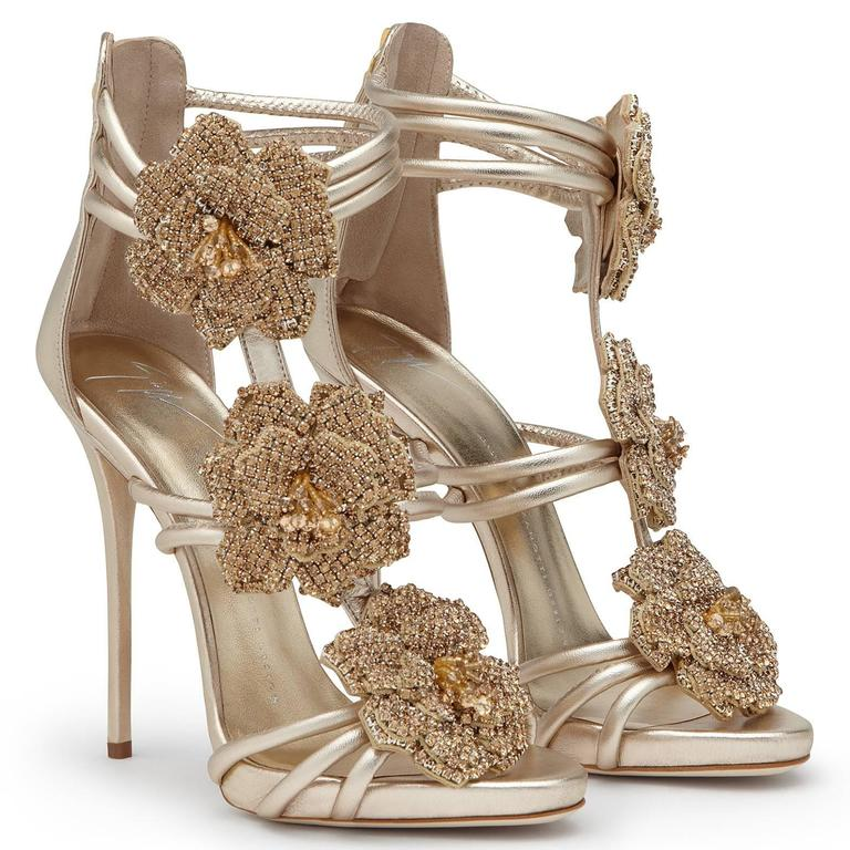 Giuseppe Zanotti New Gold Leather Crystal Rose Evening Sandals Heels in Box 3