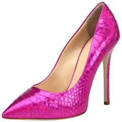 !  Giuseppe Zanotti NEW Textured Snake Leather Hot Pink Pumps Heels in Box