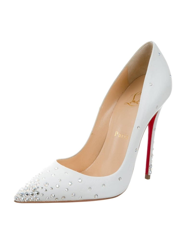 new concept 9706d fd2ed Christian Louboutin New Sold Out White Leather Crystal So Kate Heels Pumps  W/Box