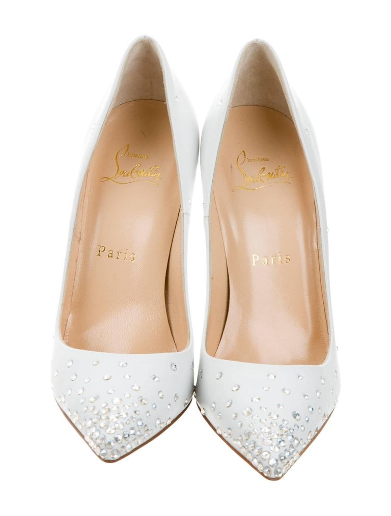 Christian Louboutin New Sold Out White Leather Crystal So Kate Heels Pumps W/Box 3