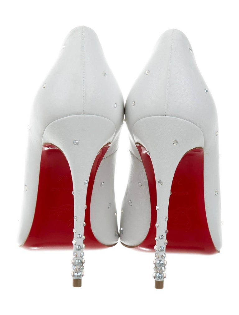 Christian Louboutin New Sold Out White Leather Crystal So Kate Heels Pumps W/Box 4
