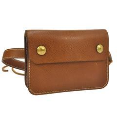Hermes Vintage Cognac Brown Leather Gold Bum Fanny Pack Waist Belt Bag