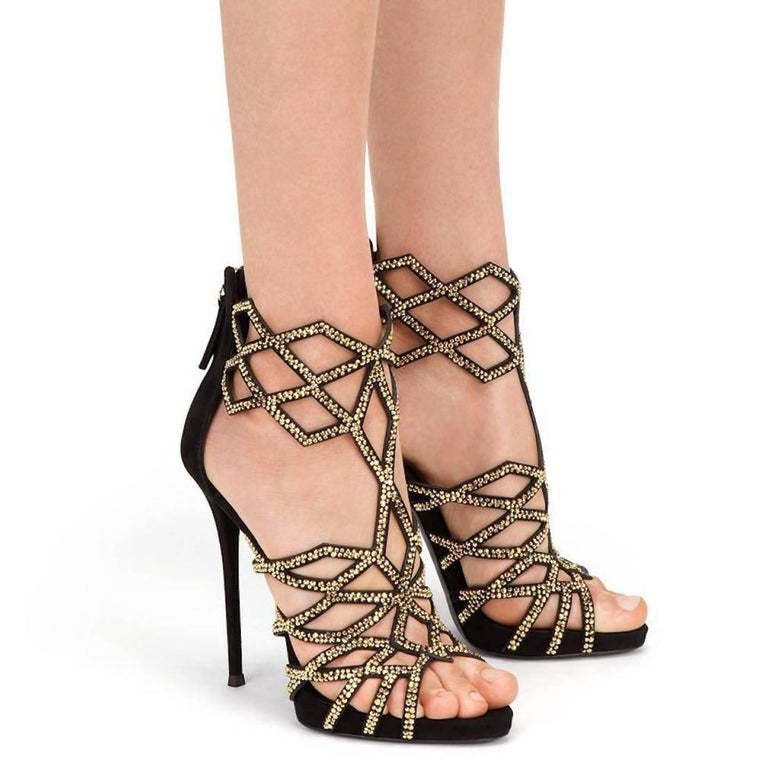 """Giuseppe Zanotti New Black Suede Gold Crystal Web Evening Sandals Heels in Box   Size IT 36  Suede  Crystal  Zipper closure  Made in Italy  Measures 4.75"""" (120mm) Includes original Giuseppe Zanotti box"""