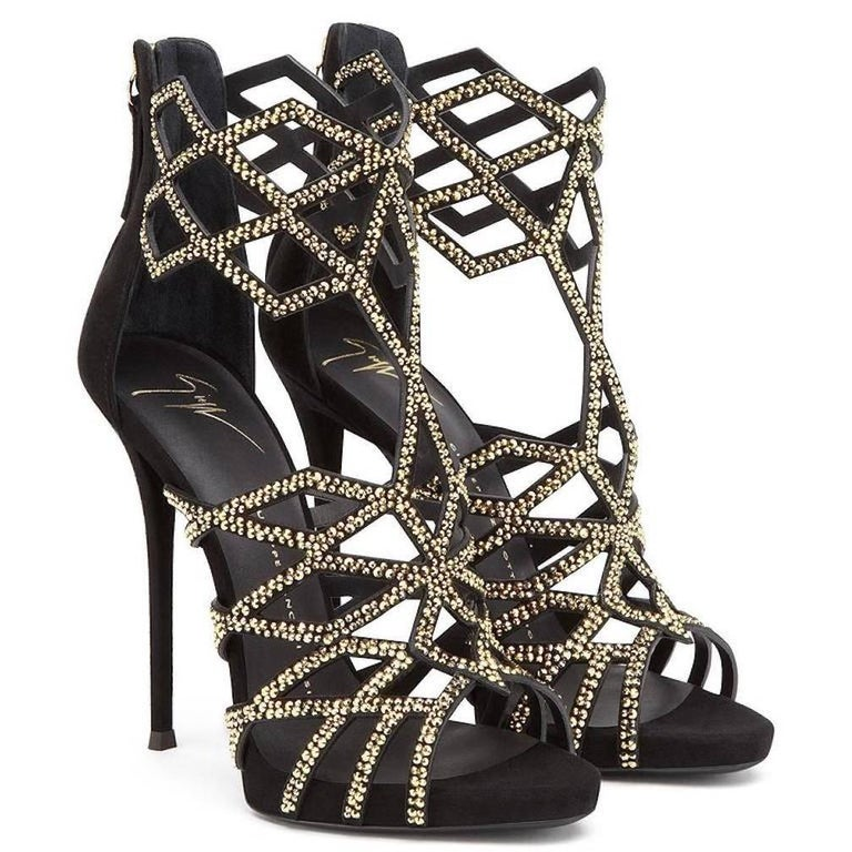 Giuseppe Zanotti New Black Suede Gold Crystal Web Heels W/Box In New Never_worn Condition For Sale In Chicago, IL