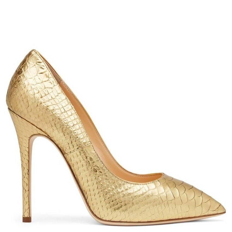 """LAST PAIR!  Giuseppe Zanotti New Gold Python Snake Embossed High Heels Pumps in Box  Size IT 36 Leather Slip on  Made in Italy Heel height 4.25"""" Includes original Giuseppe Zanotti box"""