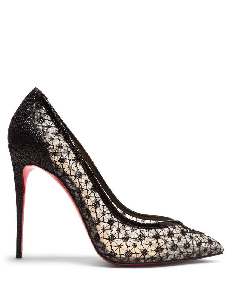 Christian Louboutin New Sold Out Black Lace Patent Heels Evening Pumps in Box 5