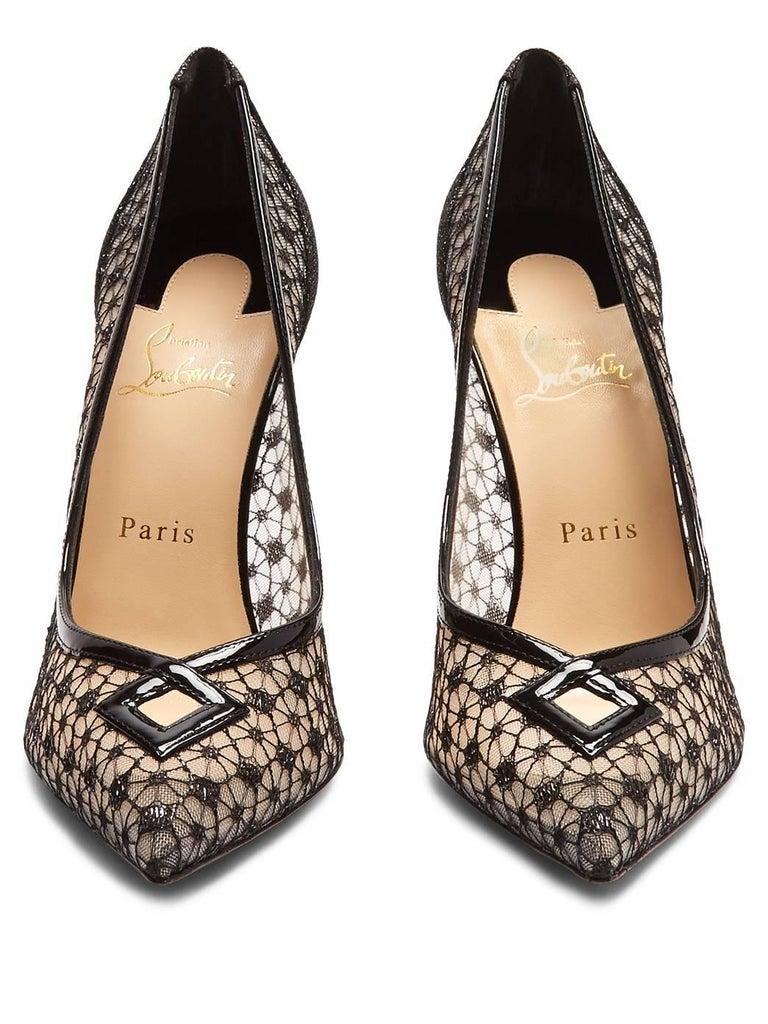 Christian Louboutin New Sold Out Black Lace Patent Heels Evening Pumps in Box 4